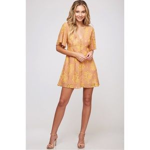 Lace Peach & Gold Short Sleeve Mini Dress